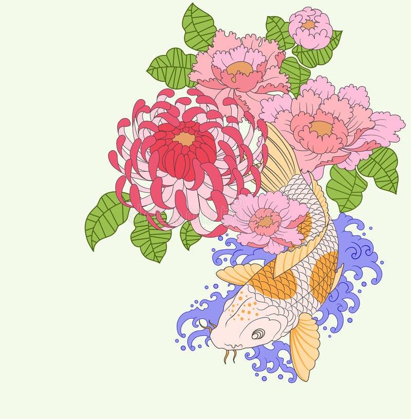 Koi Karpfen und Blumen lizenzfreie abbildung