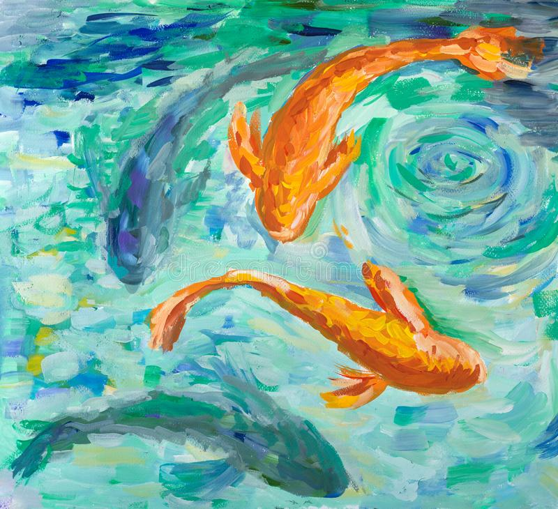 Koi kverulerar simning i ett damm vektor illustrationer