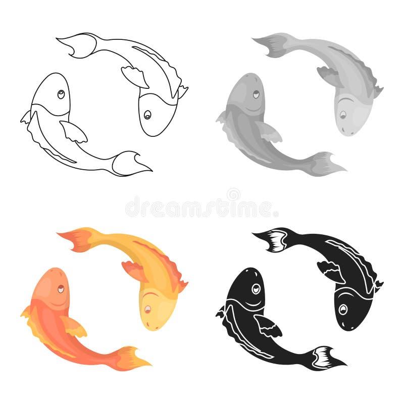 Koi pesca el icono en estilo de la historieta en el fondo blanco Ejemplo del vector de la acción del símbolo de la religión stock de ilustración