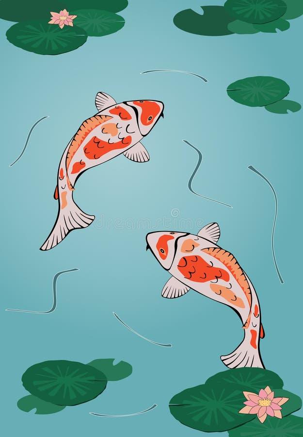 Download Koi pond stock vector. Image of bloom, goldfish, blossom - 7083797