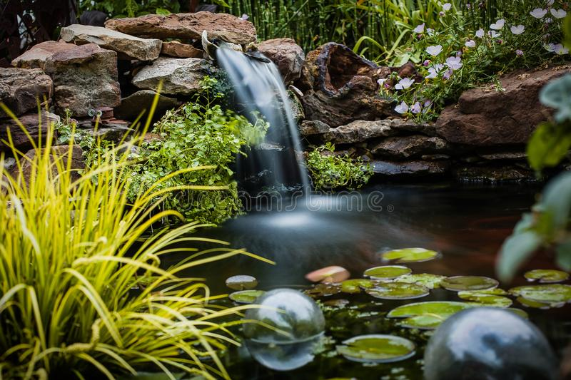 Koi Pond with Waterfall stock photography
