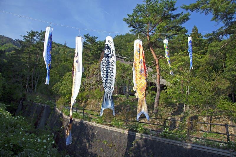Koinbori perto de Monte Fuji fotografia de stock