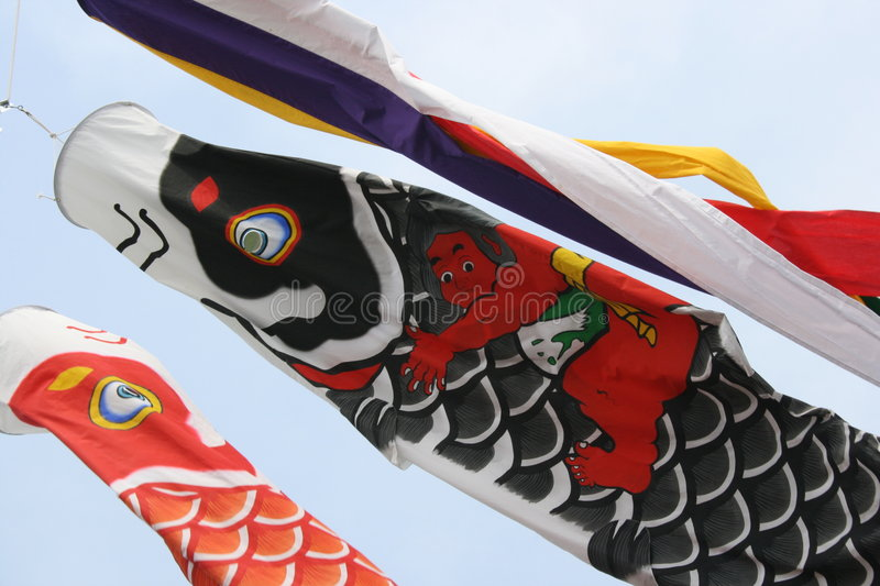Koinobori de flammes de carpe images stock