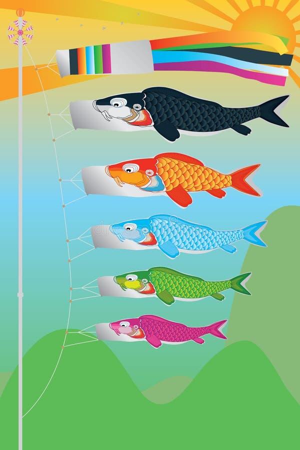 Koinobori flugalandskap stock illustrationer
