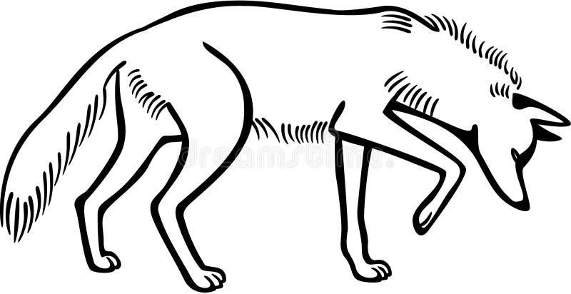 Kojote-Schnüffeln stock abbildung