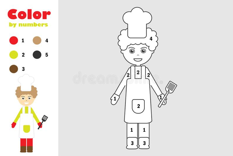Kok in beeldverhaalstijl, kleur door aantal, onderwijsdocument spel voor de ontwikkeling van kinderen, kleurende pagina, jonge ge vector illustratie