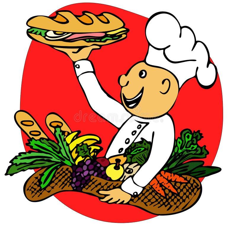 Kok met een sandwich vector illustratie