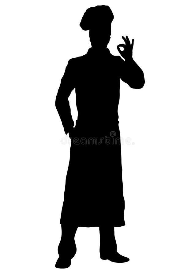 Kok vectorsilhouet, overzichtschef-kok die voorkant van gemiddelde lengte bevinden zich, de mannelijke jonge mens van het contour royalty-vrije illustratie