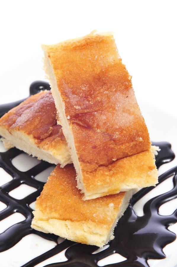 Koka amb Sucre, typischer katalanischer Kuchen lizenzfreies stockfoto