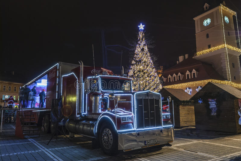 Koka-kola bożych narodzeń ciężarówka zdjęcia royalty free