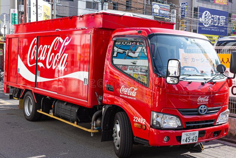 Koka-kola ciężarówka w Japonia obrazy royalty free