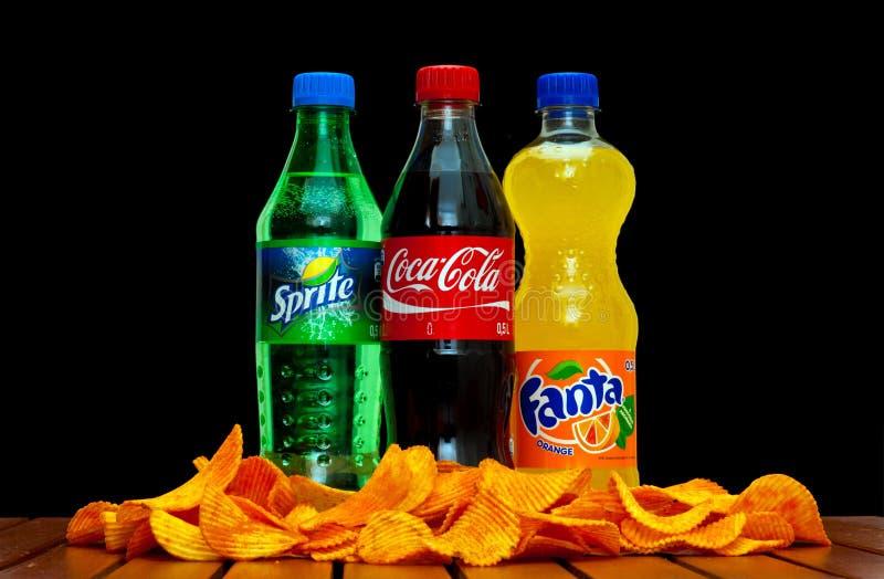 Koka-kola, fant i sprite, fotografia royalty free