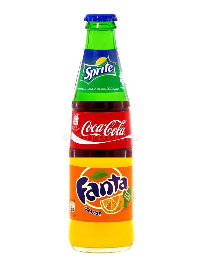 Koka-kola, Fant i Sprite w jeden butelce, obrazy stock
