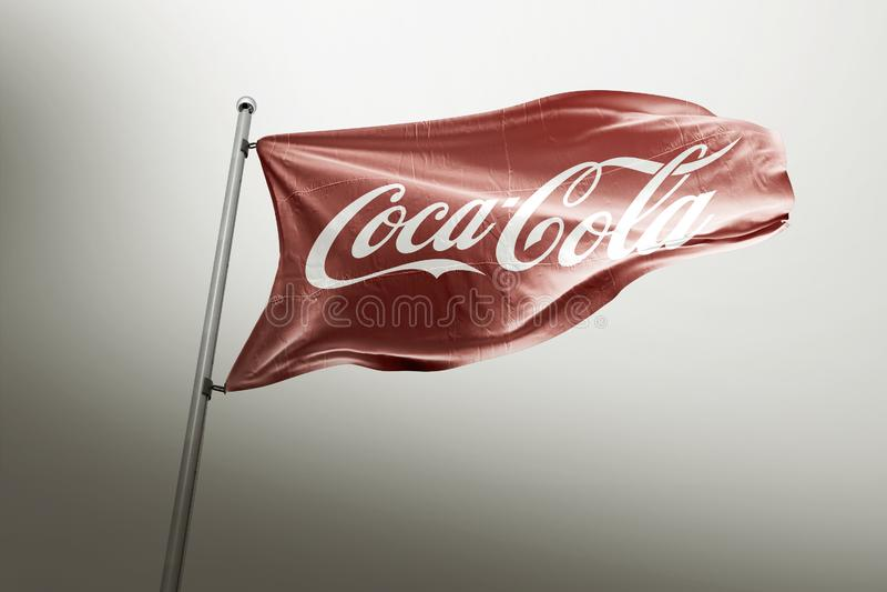Koka-kola photorealistic chorągwiany artykuł wstępny