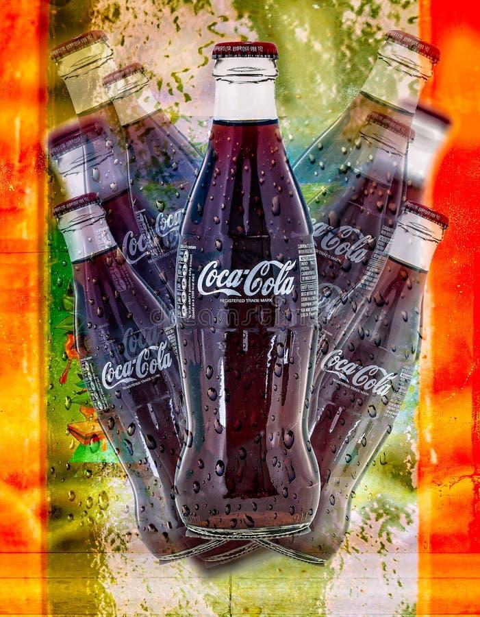 koka-kola wystrzału retro sztuka zdjęcie royalty free