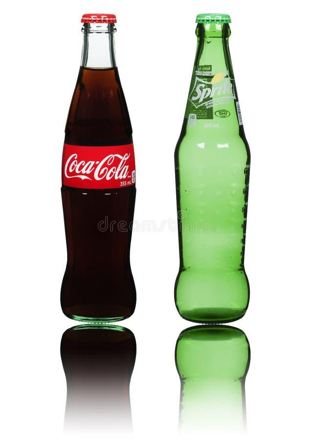 Koka-koli & Sprite butelki obrazy stock