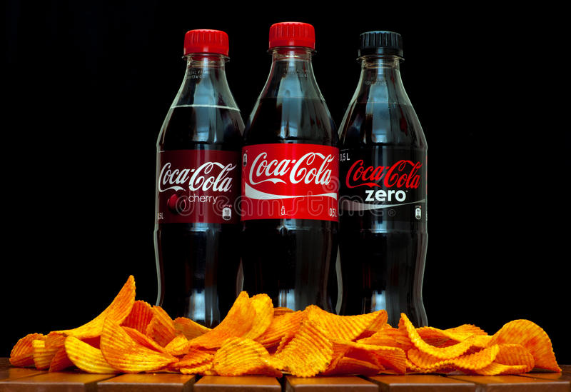 Koka-koli Zero i wiśnia fotografia royalty free