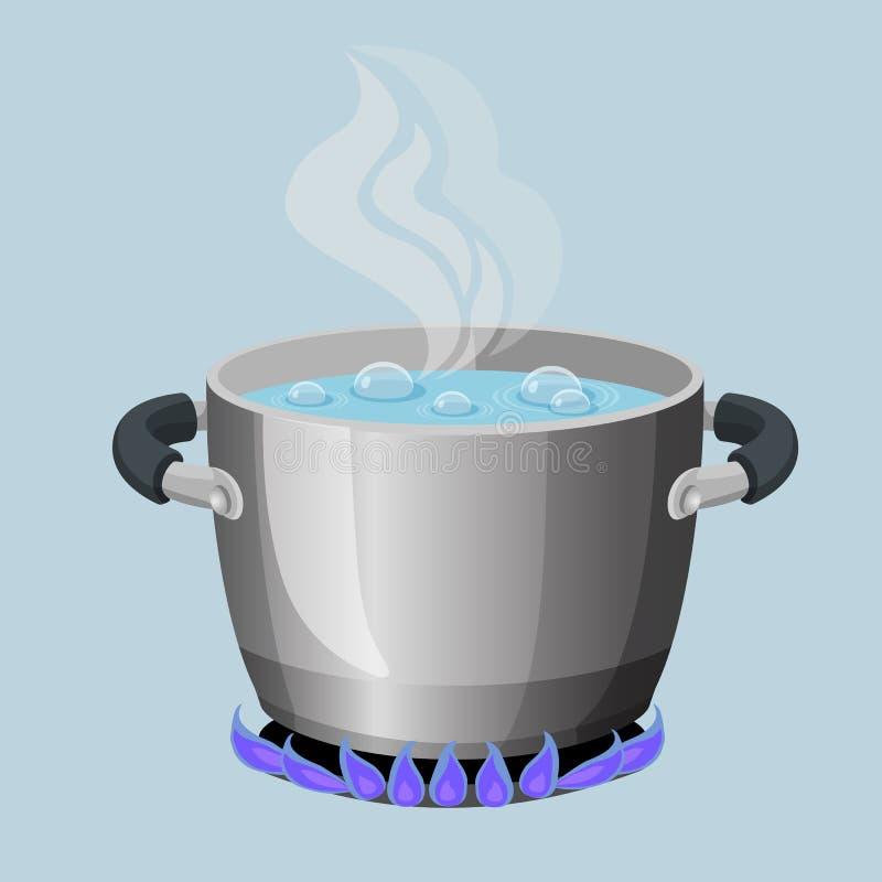 Kokande vatten i den aluminium krukan på illustration för vektor för gasflamma realistisk vektor illustrationer