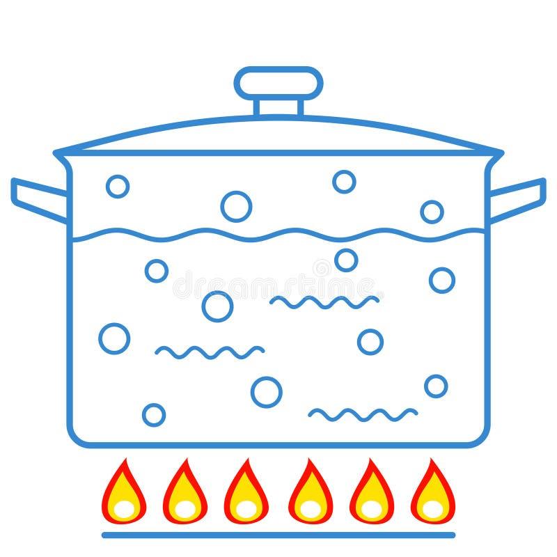 Kokande vatten i panna royaltyfri illustrationer