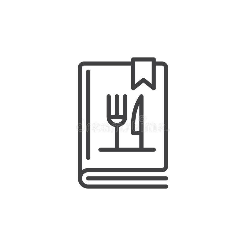 Kokbok- eller för matlagningbok linje symbol vektor illustrationer