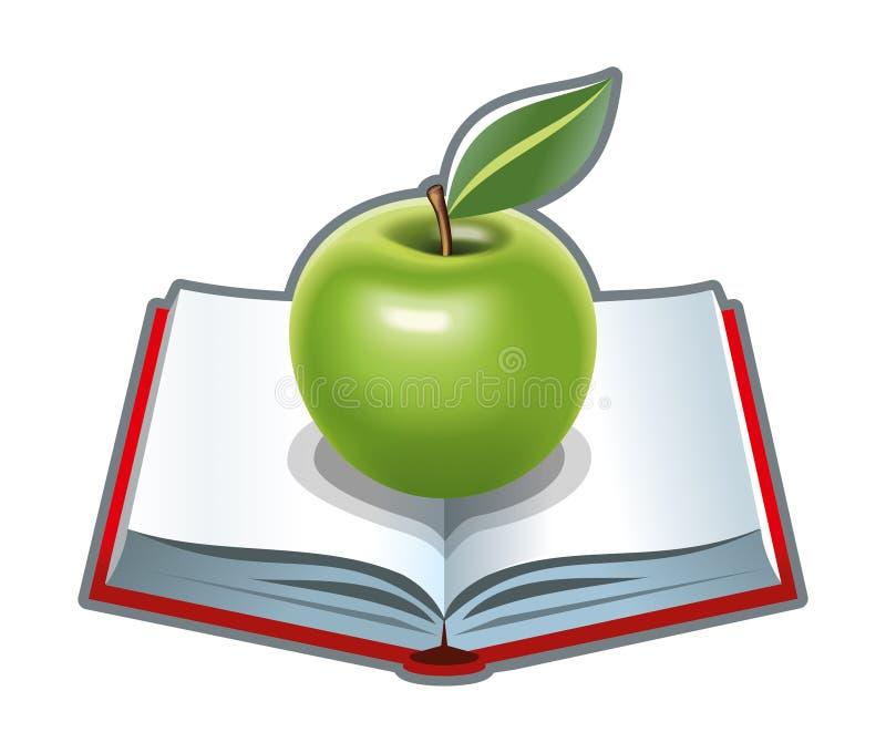 Kokbok med det gröna äpplet royaltyfri illustrationer