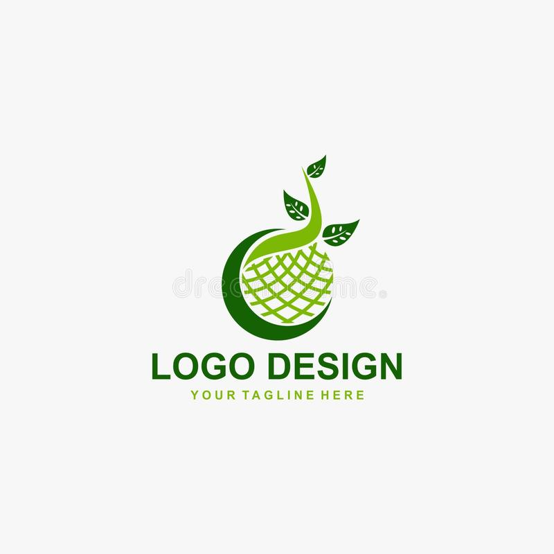 Kokedama logo design. Traditional tree from Japan, also called Bonsai - Vector. royalty free stock photos