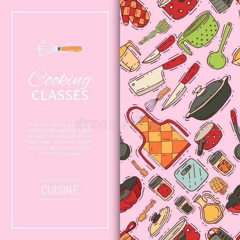 Kokend de banner vectorkeukengerei van het klassenmateriaal of cookware voor voedsel met het bestek en de plaat van het keukenwer stock illustratie