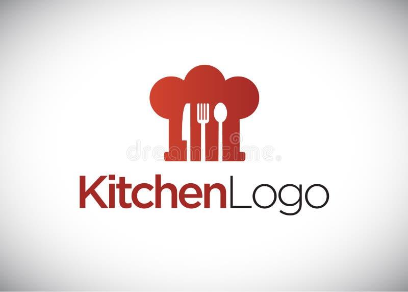 Kokend embleem, chef-kokhoed, keukenembleem, embleemmalplaatje royalty-vrije illustratie