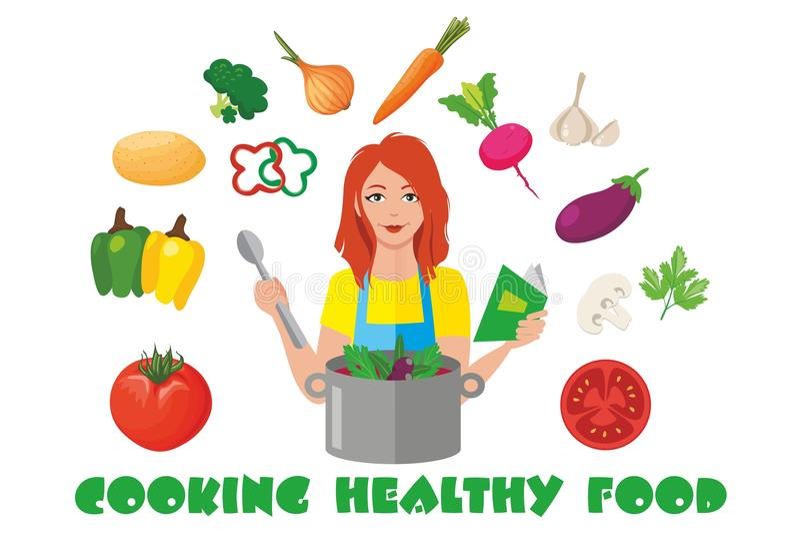 Kokend gezond voedsel stock illustratie