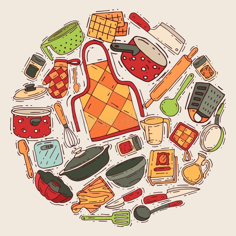 Kokend materiaal om patroon vectorkeukengerei of cookware voor voedsel met het bestek en de plaat van het keukenwerktuig vector illustratie