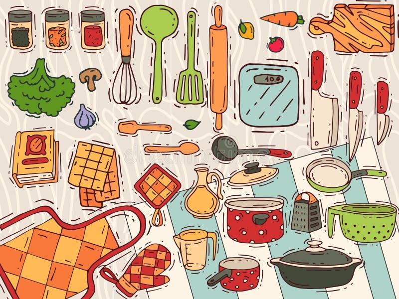 Kokend materiaal vectorkeukengerei of cookware voor voedsel met het bestek van het keukenwerktuig en plaatillustratie dishware vector illustratie