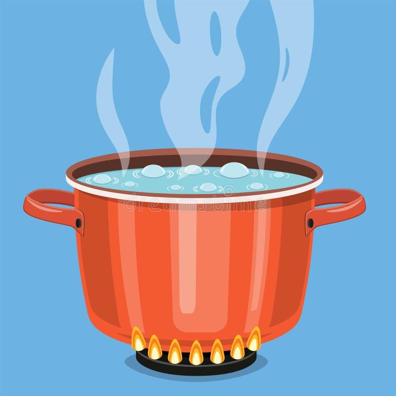 Kokend water in pan stock illustratie