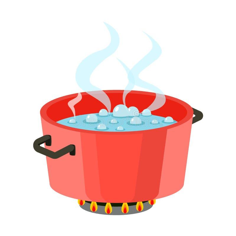 Kokend water in pan Rode kokende pot op fornuis met water en stoom Vlakke ontwerpvector vector illustratie