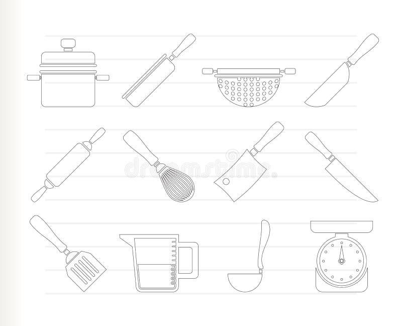 Kokende apparatuur en hulpmiddelenpictogrammen stock illustratie