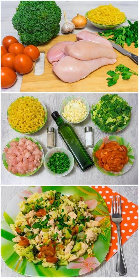 Kokende deegwaren met kip en broccoli stock fotografie