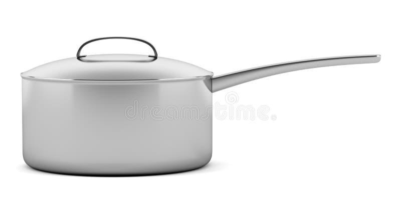 Kokende die pan op wit wordt geïsoleerd royalty-vrije illustratie