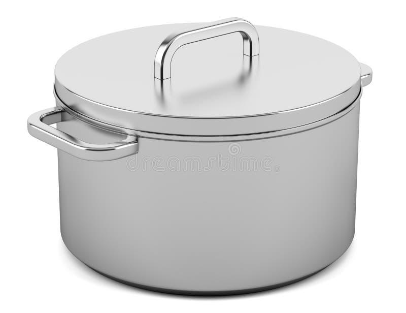 Kokende die pan op wit wordt geïsoleerd vector illustratie