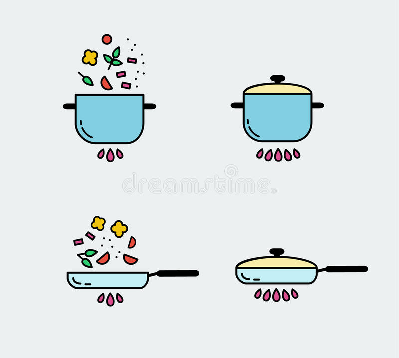 Kokende Geplaatste Lijnpictogrammen Het ontwerpelementen van de voedselvoorbereiding stock illustratie