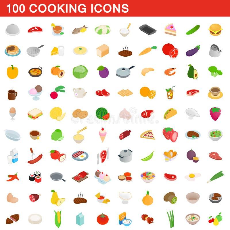 100 kokende geplaatste pictogrammen, isometrische 3d stijl royalty-vrije illustratie