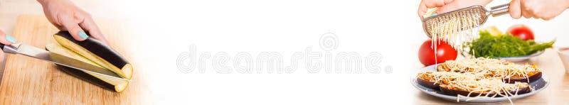 Kokende gevulde aubergine, fotocollage stock afbeeldingen