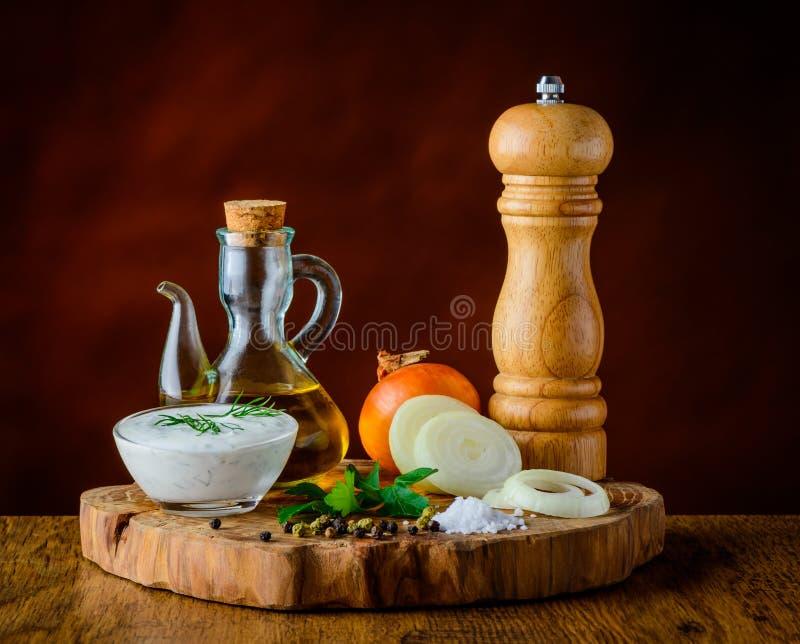 Kokende Ingrediënten in Stilleven royalty-vrije stock afbeeldingen
