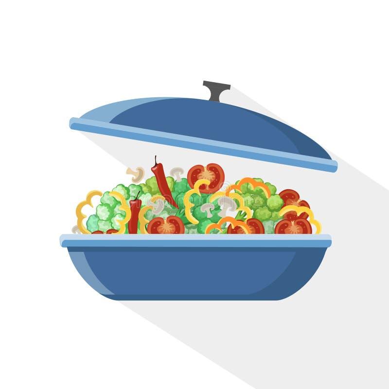 Kokende pan de objecten van de het voedselvoorbereiding van de steelpankeuken potten vectorkok vector illustratie