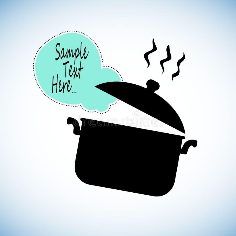 Kokende pan de objecten van de het voedselillustratie van de steelpankeuken pottenkok stock illustratie