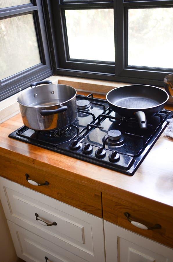 Kokende Pan En Pot Royalty-vrije Stock Fotografie