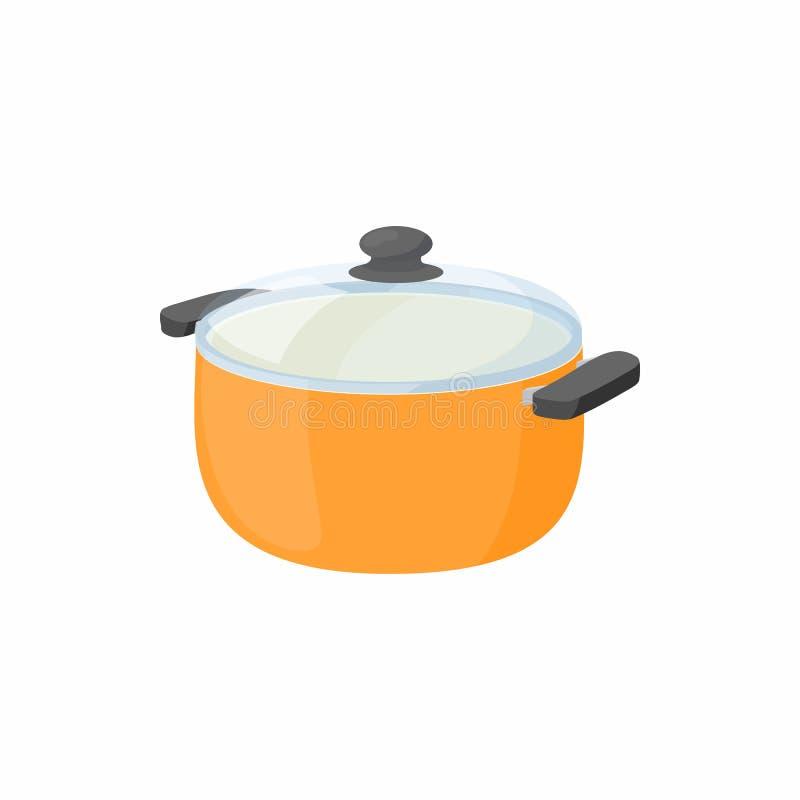 Kokende pan met het pictogram van het glasdeksel, beeldverhaalstijl stock illustratie