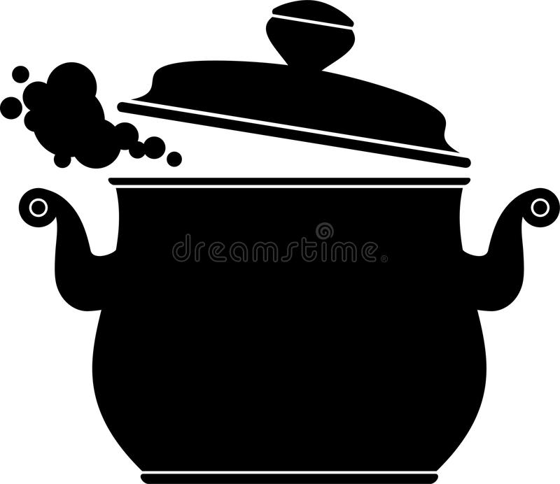Kokende Pan (silhouet) vector illustratie