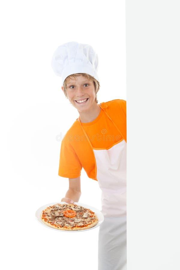 Kokende pizza stock fotografie