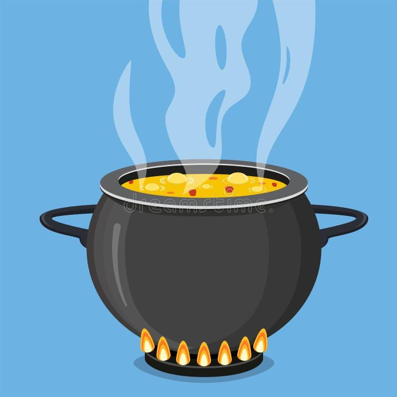 Kokende soep in pan Pot op fornuis met stoom royalty-vrije illustratie