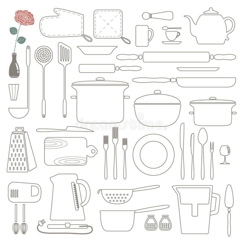 Kokende Voedsel en de pictogrammen geplaatst van het Keukenoverzicht Dunne lijn royalty-vrije illustratie