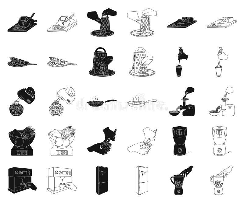 Kokende voedselzwarte, overzichtspictogrammen in vastgestelde inzameling voor ontwerp Keuken, materiaal en van het hulpmiddelen v vector illustratie